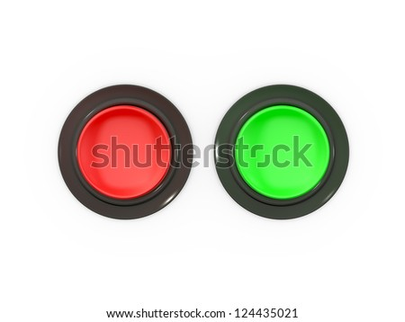Blank red and green buttons, top view, isolated on white background. - stock photo