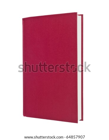 Blank red book isolated on white background - stock photo