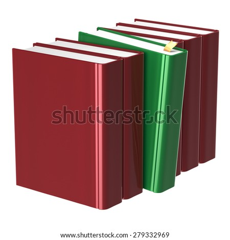 Blank red books row one green selected choosing leadership take answer covers standing textbook template. School studying grab education index content icon concept. 3d render isolated on white - stock photo