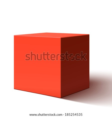 Blank red box isolated on white background - stock photo