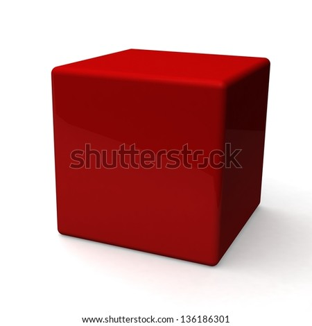 Blank red box on white background - stock photo