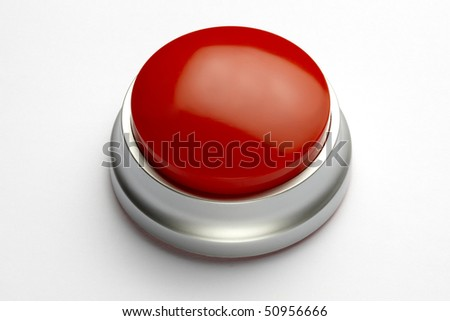 Blank red button with space for copy-shot on white background with soft shadow - stock photo