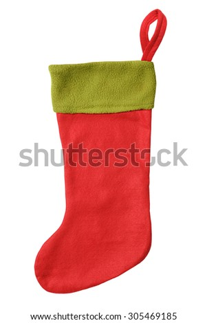 Blank red  Christmas sock with green top isolated on white background - stock photo