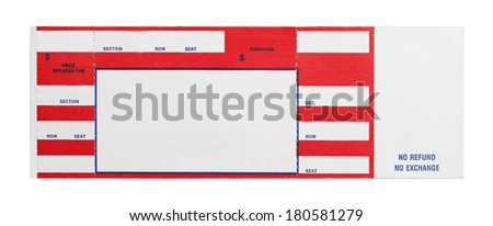 Blank Red Concert Performance Ticket Isolated on White Background. - stock photo