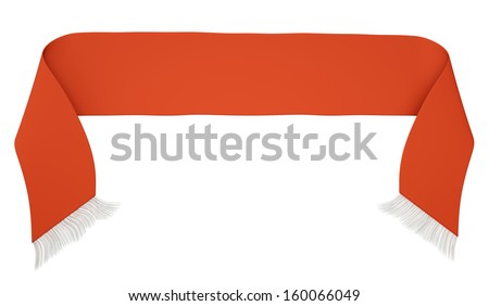 Blank red football scarf isolated on a white background. 3D render - stock photo