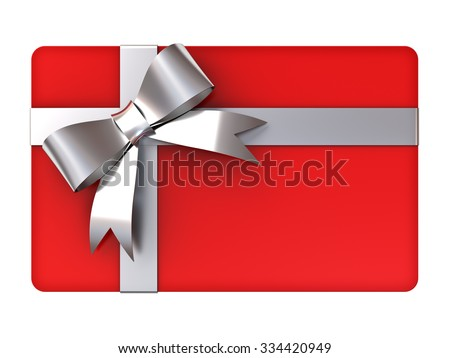 Blank red gift card with silver ribbons and bow isolated on white background - stock photo
