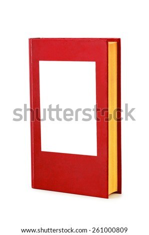 Blank red hardback book on a white background  - stock photo