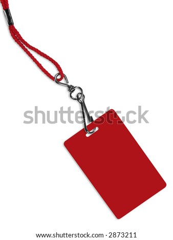 Blank red ID card / badge with copy space, isolated on white. Contains clipping path of the card (without neckband) to change the color of the card. - stock photo
