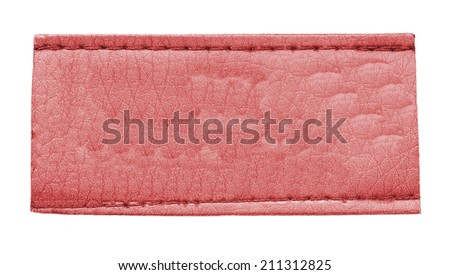 blank red leather label isolated on white   - stock photo