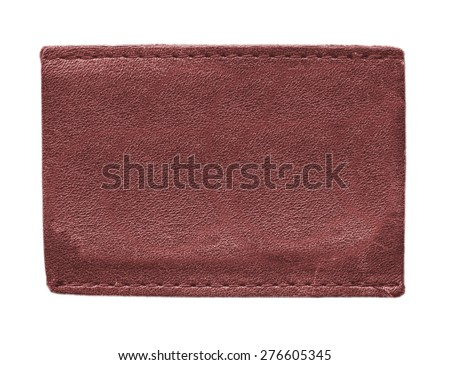 blank red leather label on white background - stock photo