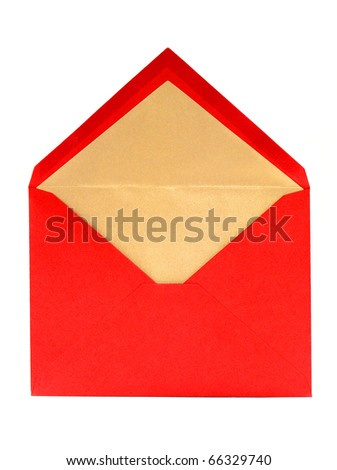 Blank, red, opened greeting card envelope with copy space - stock photo
