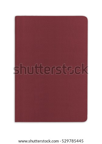 Blank red passport background on white background with clipping path.