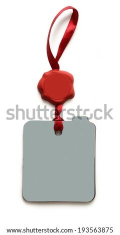 Blank red sealed badge on white - stock photo