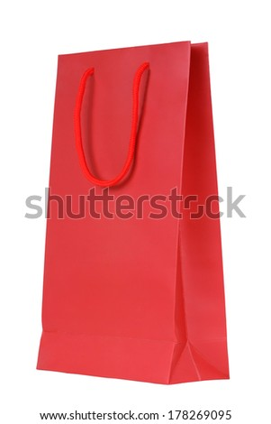 Blank red shopping bag isolated on white background - stock photo