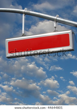 blank red sign with cloudy sky - stock photo