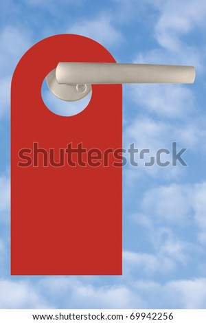 Blank Red Tag On Handle Over Light Summer Sky Cloudscape - stock photo