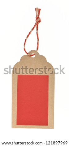 blank red tag under brown background tied with rope - stock photo