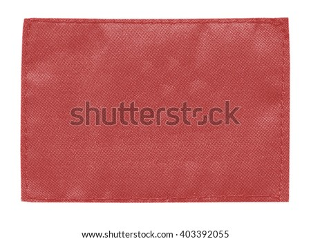 blank red  textile label isolated on white