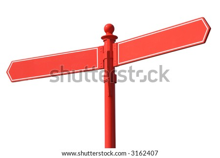 Blank red two way signpost. - stock photo