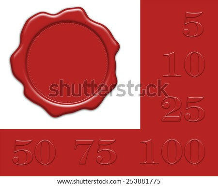 blank red wax seal illustration with collection of different jubilee numerals for own editing, isolated on white background - stock photo