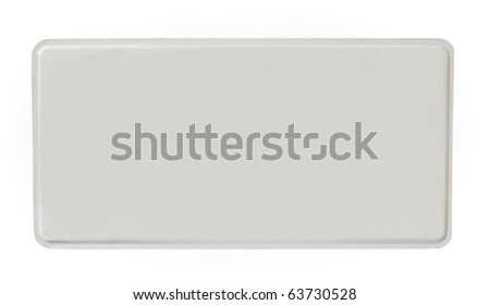 blank reflective license plate isolated on a white background - stock photo