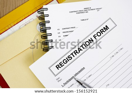 Blank registration form abstract with manila envelop.