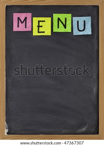 blank restaurant menu - sticky note title on blackboard with white chalk smudges - stock photo