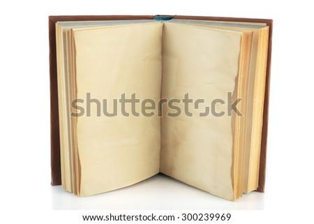 Blank retro open book isolated on white - stock photo