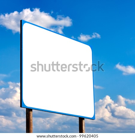 Blank  Road Sign Against Light Cloudscape, Summer Sky And Clouds