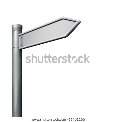 blank road sign arrow pointing with copy space empty signpost isolated on white background - stock photo