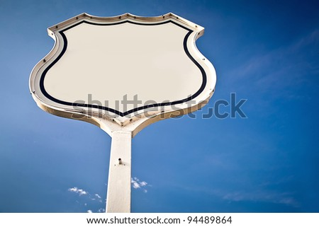 Blank road sign Interstate. - stock photo