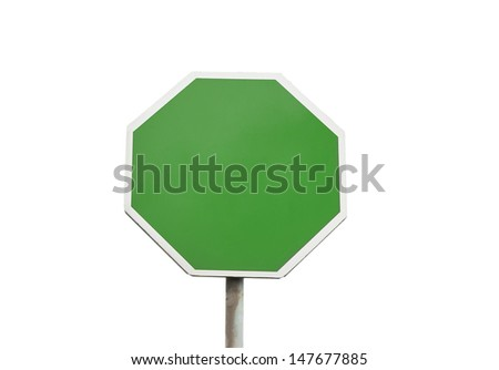Blank road sign isolated on white - stock photo