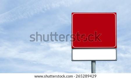 Blank road sign, original photo. - stock photo