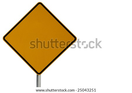 Blank road sign ready for text isolated on a white background.  Sign located to the left.  Clipping path included. Part of a series - stock photo