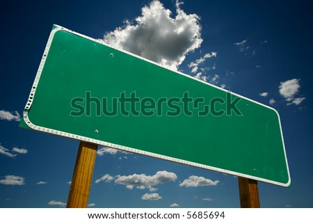 Blank Road Sign - Ready for your own message. - stock photo