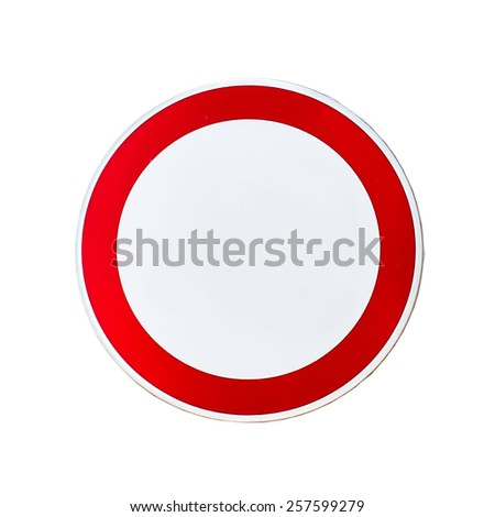 Blank road sign with stand isolated on a white background - stock photo