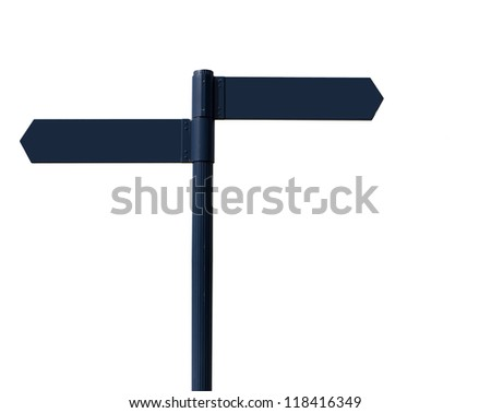 Blank road signs on white - stock photo