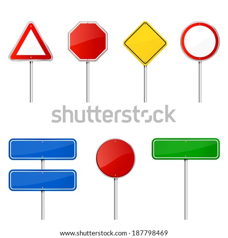 Blank road signs with stand isolated on a white background, illustration. - stock photo