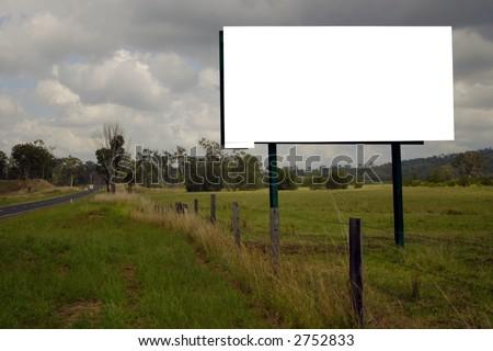 blank roadside sign - stock photo