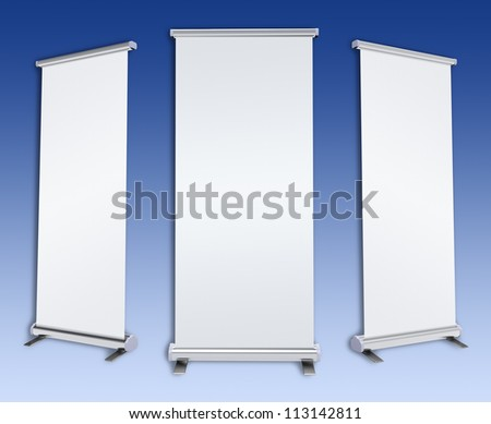 Blank rol-up banner display - stock photo