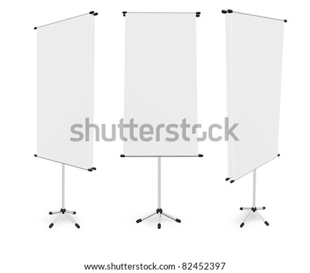 blank roll up banner display (3D render) template for design work - stock photo
