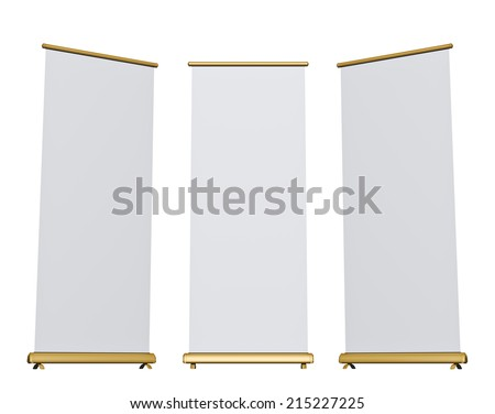 Blank roll-up banner display, isolated  - stock photo