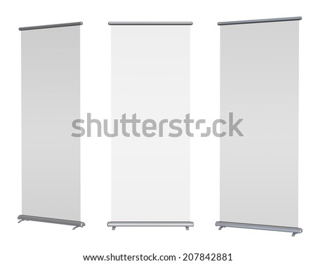 Blank roll-up banner display, isolated with clipping path - stock photo