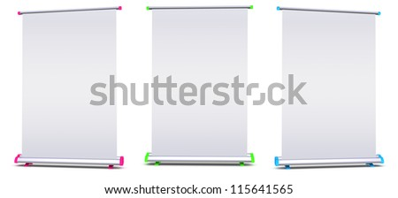 Blank roll-up banner display on white background - stock photo