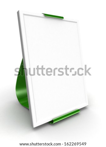 Blank roll up banner display on white background - stock photo