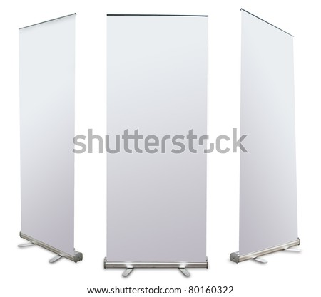 blank roll up banner display (3 view) template for design work - stock photo