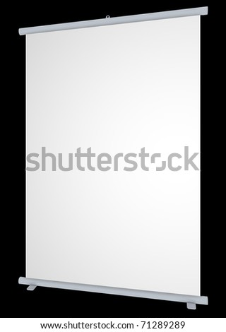 Blank roll-up banner on black background - stock photo