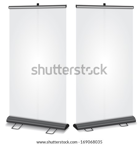 Blank Roll-up banner, perspective dimension , 2 type of support