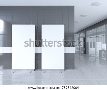 bright office. Blank Roll Up Banner Stand In Bright Office Interior With Clipping Path Around Ad Stand.
