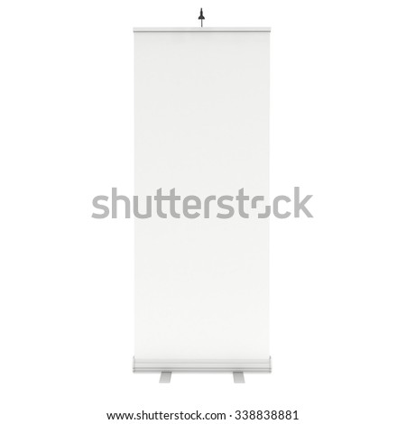 Blank Roll Up Banner Stand. Trade show booth white and blank. 3d render isolated on white background. High Resolution Template for your design. - stock photo